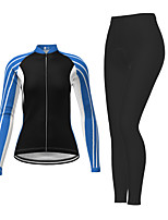 cheap -21Grams Women's Long Sleeve Cycling Jersey with Tights Winter Polyester Red Fuchsia Blue Stripes Bike Jersey Tights Clothing Suit Breathable Quick Dry Moisture Wicking Back Pocket Sports Stripes