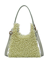 cheap -Women's Bags Faux Fur Top Handle Bag Baguette Bag Feathers / Fur for Daily Going out Black Blushing Pink Green Beige