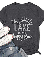 cheap -the lake is my happy place t-shirts sunshine shirts women lake life casual graphic print top & #40;gray,s& #41;