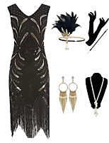 cheap -The Great Gatsby Vintage 1920s Flapper Dress Outfits Masquerade Women's Tassel Fringe Costume Golden / Black Vintage Cosplay Party Prom / Gloves / Headwear / Necklace / Earrings / Cigarette Stick