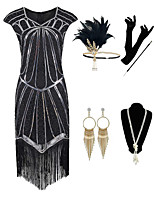 cheap -The Great Gatsby Vintage 1920s Flapper Dress Outfits Masquerade Women's Tassel Fringe Costume Black Vintage Cosplay Party Prom / Gloves / Headwear / Necklace / Earrings / Cigarette Stick