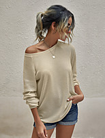 cheap -Women's Basic Knitted Solid Color Plain Pullover Long Sleeve Loose Sweater Cardigans Crew Neck Round Neck Fall Winter Black Army Green Dusty Rose