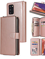 cheap -Case For Samsung Galaxy S20 Plus S20 ULTRA  S20 S10 LITE S10 PLUS S10 E S10 S9 S8  Plus S9 S8 A81 71 51 41 31 21 11 01 A70 50 40 30  Card Holder Flip  Magnetic Full Body Cases Solid Colored PU Leather
