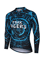 cheap -YORK TIGERS Men's Long Sleeve Cycling Jersey Downhill Jersey Dark Blue Gear Bike Tee Tshirt Sports Clothing Apparel / Advanced / Micro-elastic
