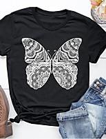 cheap -Women's T-shirt Butterfly Print Round Neck Tops Basic Basic Top Black Blushing Pink Light gray