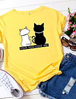 cheap -Women's T-shirt Animal Letter Print Round Neck Tops 100% Cotton Basic Basic Top White Yellow Blushing Pink