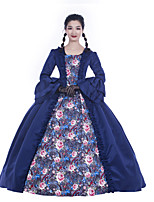 cheap -Maria Antonietta Retro Vintage Rococo Vacation Dress Dress Masquerade Women's Satin Costume Navy Blue Vintage Cosplay Party Prom Long Sleeve Floor Length Ball Gown Plus Size