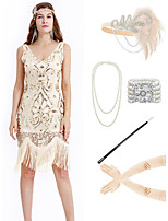 cheap -The Great Gatsby Vintage 1920s Vacation Dress Flapper Dress Outfits Masquerade Women's Tassel Fringe Costume Beige Vintage Cosplay Party Prom / Gloves / Headwear / Necklace / Bracelets & Bangles