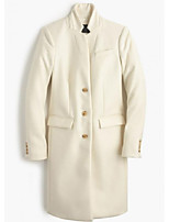 cheap -Women's Fall & Winter Stand Collar Coat Long Solid Colored Daily Basic White Black S M L XL