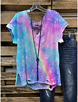 cheap -Women's T-shirt Tie Dye Print Round Neck Tops Loose Basic Basic Top Blue Purple Yellow