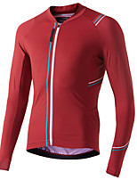 cheap -21Grams Men's Long Sleeve Cycling Jacket Red Dark Navy Novelty Bike Jersey Top Mountain Bike MTB Road Bike Cycling UV Resistant Breathable Quick Dry Sports Clothing Apparel / Stretchy