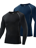 cheap -WOSAWE Men's Long Sleeve Cycling Jersey Black Dark Navy Solid Color Bike Top Warm Quick Dry Sports Clothing Apparel