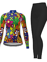 cheap -21Grams Women's Long Sleeve Cycling Jersey with Tights Winter Polyester Green Novelty Floral Botanical Bike Jersey Tights Clothing Suit Breathable Quick Dry Moisture Wicking Back Pocket Sports Novelty