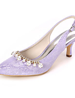 cheap -Women's Wedding Shoes Kitten Heel Pointed Toe Sweet Wedding Party & Evening Rhinestone Imitation Pearl Floral Lace White / Light Purple / Ivory