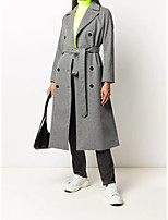 cheap -Women's Fall & Winter Double Breasted Coat Long Solid Colored Daily Basic Wool Gray S M L XL / Slim