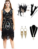 cheap -The Great Gatsby Vintage 1920s Flapper Dress Outfits Masquerade Women's Tassel Fringe Costume Black / Blue Vintage Cosplay Party Prom / Gloves / Headwear / Necklace / Bracelets & Bangles / Earrings