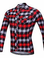 cheap -21Grams Men's Long Sleeve Cycling Jacket Red Blue Plaid Checkered Bike Jersey Top Mountain Bike MTB Road Bike Cycling UV Resistant Breathable Quick Dry Sports Clothing Apparel / Stretchy
