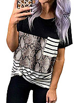 cheap -womens leopard printed t shirt summer short sleeve shirts loose casual tops crewneck tee top blouses