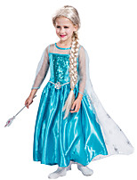 cheap -Princess Dress Masquerade Flower Girl Dress Girls' Movie Cosplay A-Line Slip Vacation Dress Blue Dress Children's Day Masquerade Polyester Organza