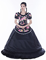 cheap -Maria Antonietta Retro Vintage Rococo Vacation Dress Dress Masquerade Women's Lace Satin Costume Black Vintage Cosplay Party Prom Short Sleeve Floor Length Ball Gown Plus Size