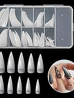 cheap -vcedas 100pcs stiletto shaped nail half cover tips 10 sizes flake nails acrylic natural fake nail for nail salons and diy nail art