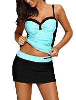 cheap -women ruched color block tankini swimwear with skirted swim bottom two pieces swimsuit cyan xx-large