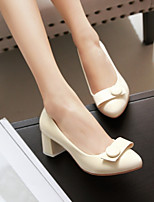 cheap -Women's Heels Pumps Round Toe Sweet Daily Office & Career Solid Colored PU Walking Shoes Black / Pink / Beige