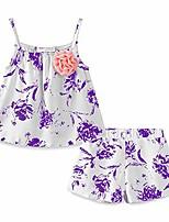cheap -little girl short outfit linen flower size 5 purple