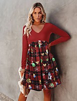 cheap -Women's A-Line Dress Knee Length Dress - Long Sleeve Color Block Patchwork Fall V Neck Sexy Loose 2020 Red S M L XL