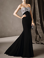 cheap -Mermaid / Trumpet Luxurious Sexy Engagement Formal Evening Dress Sweetheart Neckline Sleeveless Court Train Stretch Satin with Beading 2020