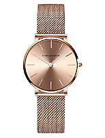 cheap -women's rose gold watch analog quartz stainless steel mesh band casual fashion ladies wrist watches