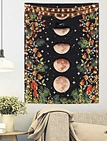 cheap -moonlit garden tapestry, moon phase tapestry floral vine tapestries black background flower tapestry wall hanging for room & #40;36.02 x 48.03 inches& #41;