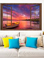cheap -Landscape Sunset Sea Lone Boat Wall Stickers 3D Wall Stickers Decorative Wall Stickers PVC Home Decoration Wall Decal Wall Decoration 1pc