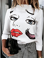 cheap -Women's Going out T-shirt Cartoon Long Sleeve Print Round Neck Tops Loose Basic Basic Top White Red Rainbow