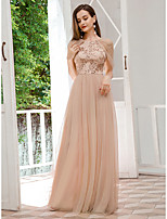 cheap -Women's A-Line Dress Maxi long Dress - Short Sleeve Solid Color Sequins Spring Fall Formal Elegant Party Loose 2020 Beige S M L XL XXL