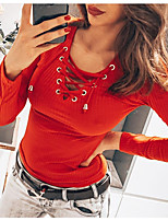 cheap -Women's Going out T-shirt Solid Colored Long Sleeve Patchwork V Neck Tops Slim Basic Basic Top White Black Red