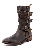 cheap -Women's Boots Cowboy Western Boots Flat Heel Round Toe Vintage Punk & Gothic Daily Outdoor Solid Colored PU Walking Shoes Yellow / Khaki / Brown