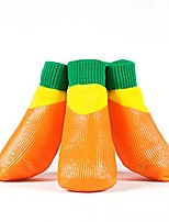 cheap -4pcs pet dog outdoor socks, waterproof rainproof nonslip shoes boots sneaker, cotton socks+rubber sole, free magic shoes band! (orange)