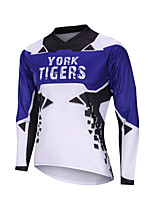cheap -YORK TIGERS Men's Long Sleeve Cycling Jersey Downhill Jersey Blue / White Bike Tee Tshirt Sports Clothing Apparel / Advanced / Micro-elastic