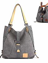 cheap -3 ways women canvas purses handbags totes shoulder bag backpack hobo (gray)