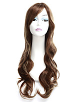 cheap -Synthetic Wig Tight Curl Asymmetrical Side Part With Bangs Wig Very Long Brown Synthetic Hair 28 inch Women's Exquisite Coloring Fluffy Black