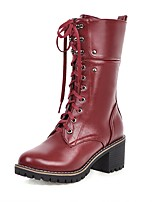 cheap -Women's Boots Wedge Heel Round Toe British Daily Solid Colored PU Mid-Calf Boots Black / Red / Brown
