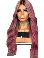 cheap -Synthetic Wig kinky Straight Natural Straight Middle Part Wig Long Pink+Red Synthetic Hair 28 inch Women's Fashionable Design Comfortable Middle Part Pink