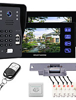 cheap -MOUNTAINONE SY816MJLENO12 With 2 Monitors 7 Inch Fingerprint RFID Password Video Door Phone Intercom Doorbell System kit With NO Electric Strike Lock+ Wireless Remote Control Unlock