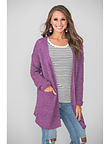 cheap -Women's Basic Knitted Solid Color Plain Cardigan Long Sleeve Loose Sweater Cardigans Open Front Fall Winter Blue Purple