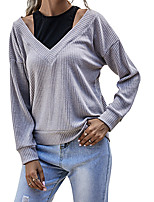 cheap -Women's Sweater Patchwork Hollow Out Crew Neck Color Block Sport Athleisure Pullover Long Sleeve Warm Soft Oversized Comfortable Everyday Use Daily Casual