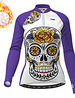 cheap -21Grams Women's Long Sleeve Cycling Jacket Winter Fleece Polyester Purple Yellow Red Skull Floral Botanical Funny Bike Jacket Top Mountain Bike MTB Road Bike Cycling Thermal Warm Fleece Lining