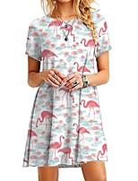 cheap -Women's Sheath Dress Knee Length Dress - Short Sleeve Print Print Summer Sexy Slim 2020 White Blue Purple Red Blushing Pink Royal Blue Light Blue M L XL XXL 3XL