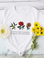 cheap -Women's T-shirt Floral Graphic Prints Letter Print Round Neck Tops 100% Cotton Basic Basic Top White