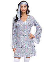 cheap -Hippie Disco Retro Vintage Hippie 1970s Disco Vacation Dress Summer Outfits Masquerade Women's Costume Blue Vintage Cosplay Party Halloween Masquerade Long Sleeve / Headwear / Headwear